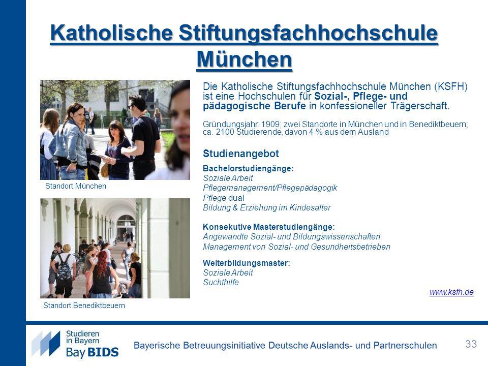 Katholische Stiftungsfachhochschule München Die Katholische Stiftungsfachhochschule München (KSFH) ist eine Hochschulen für Sozial-, Pflege- und pädag