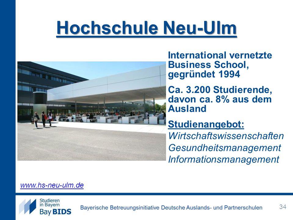Hochschule Neu-Ulm International vernetzte Business School, gegründet 1994 Ca. 3.200 Studierende, davon ca. 8% aus dem Ausland Studienangebot: Wirtsch