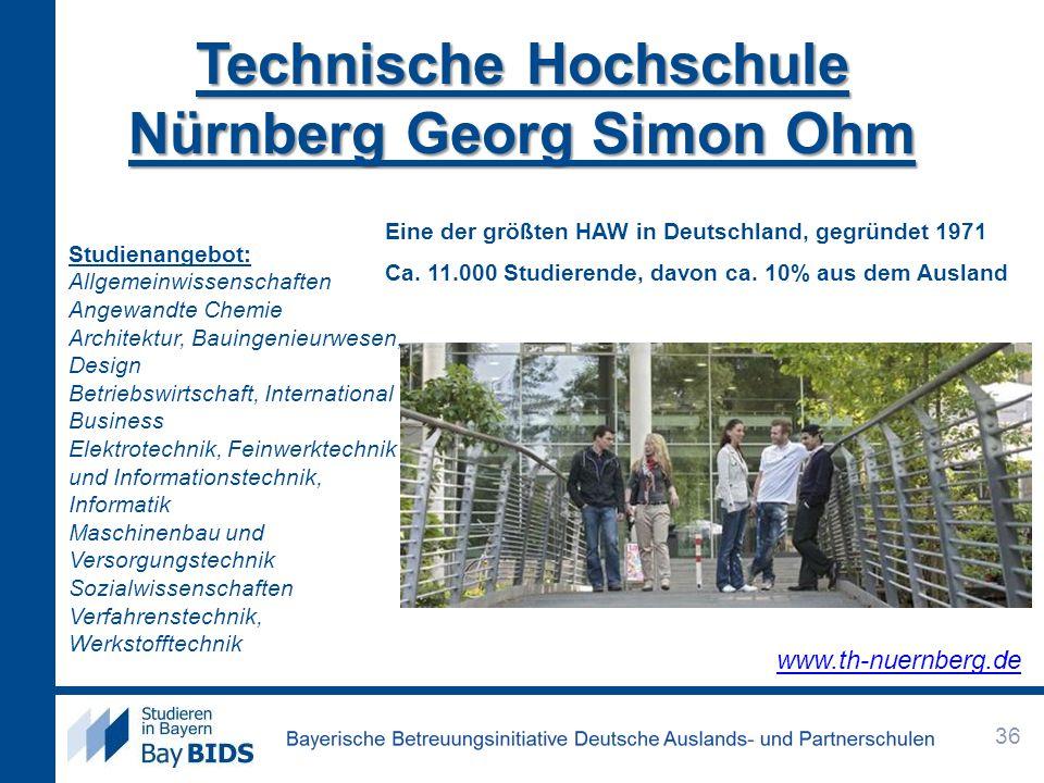 Technische Hochschule Nürnberg Georg Simon Ohm Eine der größten HAW in Deutschland, gegründet 1971 Ca. 11.000 Studierende, davon ca. 10% aus dem Ausla
