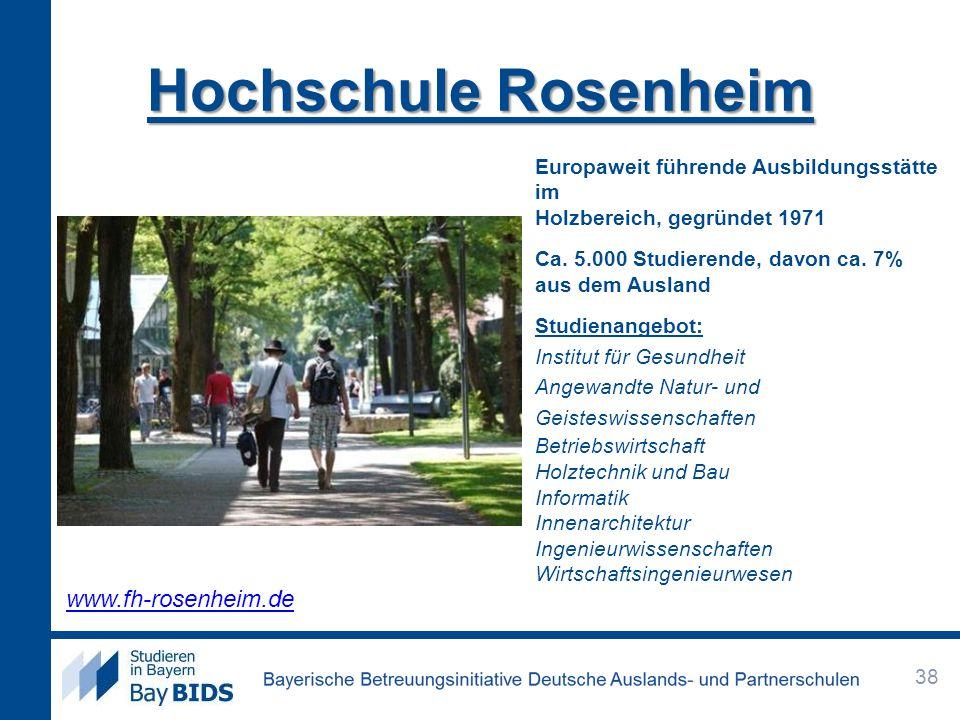 Hochschule Rosenheim Europaweit führende Ausbildungsstätte im Holzbereich, gegründet 1971 Ca. 5.000 Studierende, davon ca. 7% aus dem Ausland Studiena