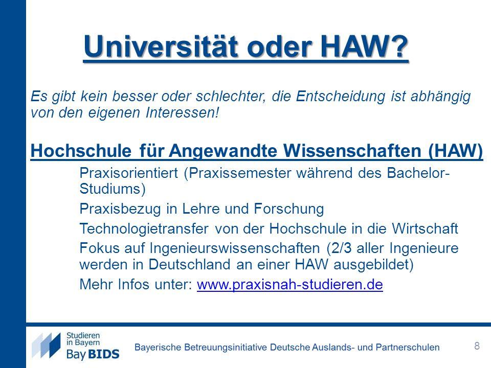 Universität oder HAW? Es gibt kein besser oder schlechter, die Entscheidung ist abhängig von den eigenen Interessen! Hochschule für Angewandte Wissens