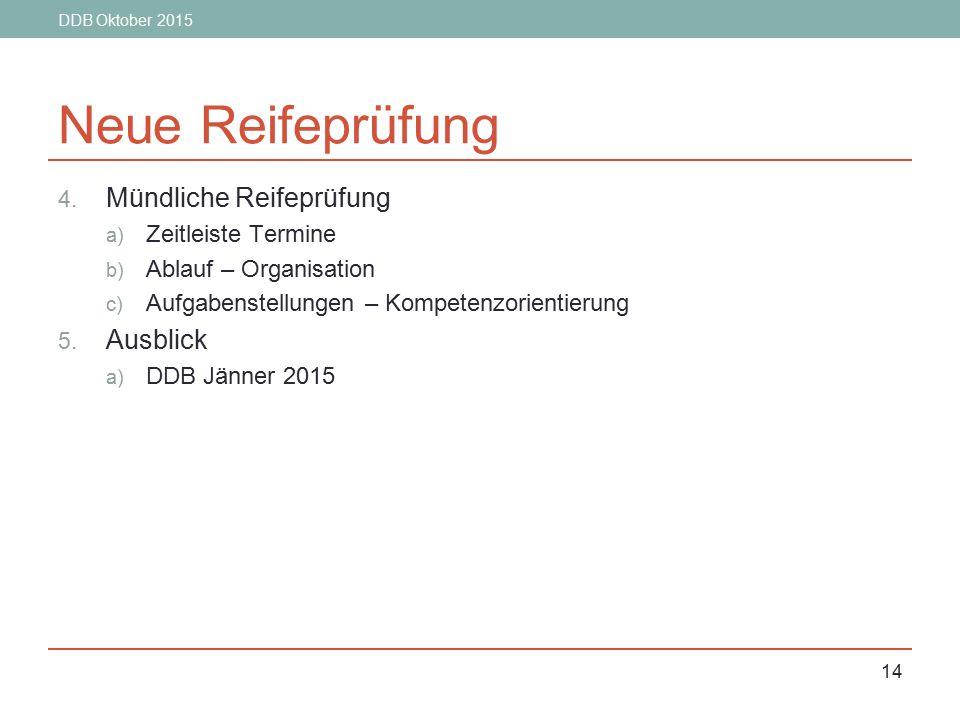 DDB Oktober 2015 14 Neue Reifeprüfung 4. Mündliche Reifeprüfung a) Zeitleiste Termine b) Ablauf – Organisation c) Aufgabenstellungen – Kompetenzorient