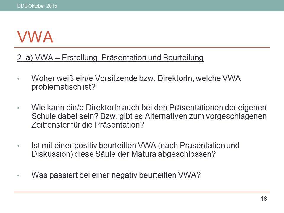 DDB Oktober 2015 18 VWA 2. a) VWA – Erstellung, Präsentation und Beurteilung Woher weiß ein/e Vorsitzende bzw. DirektorIn, welche VWA problematisch is