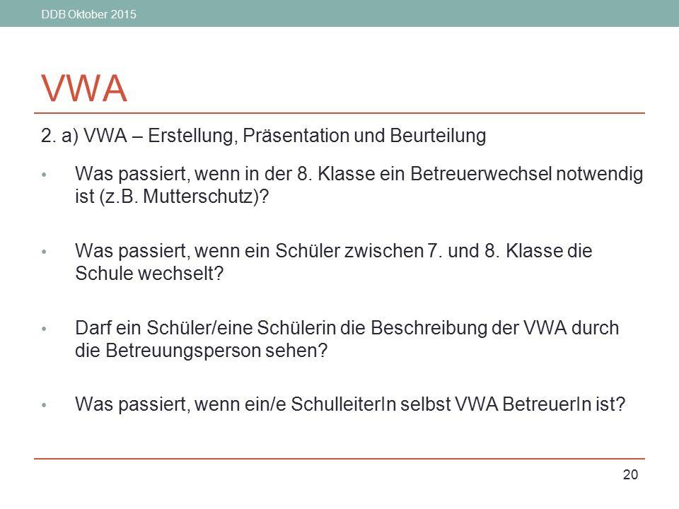DDB Oktober 2015 20 VWA 2. a) VWA – Erstellung, Präsentation und Beurteilung Was passiert, wenn in der 8. Klasse ein Betreuerwechsel notwendig ist (z.
