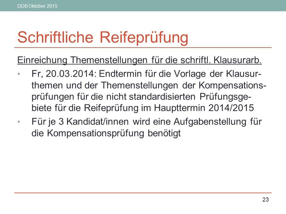 DDB Oktober 2015 23 Schriftliche Reifeprüfung Einreichung Themenstellungen für die schriftl. Klausurarb. Fr, 20.03.2014: Endtermin für die Vorlage der