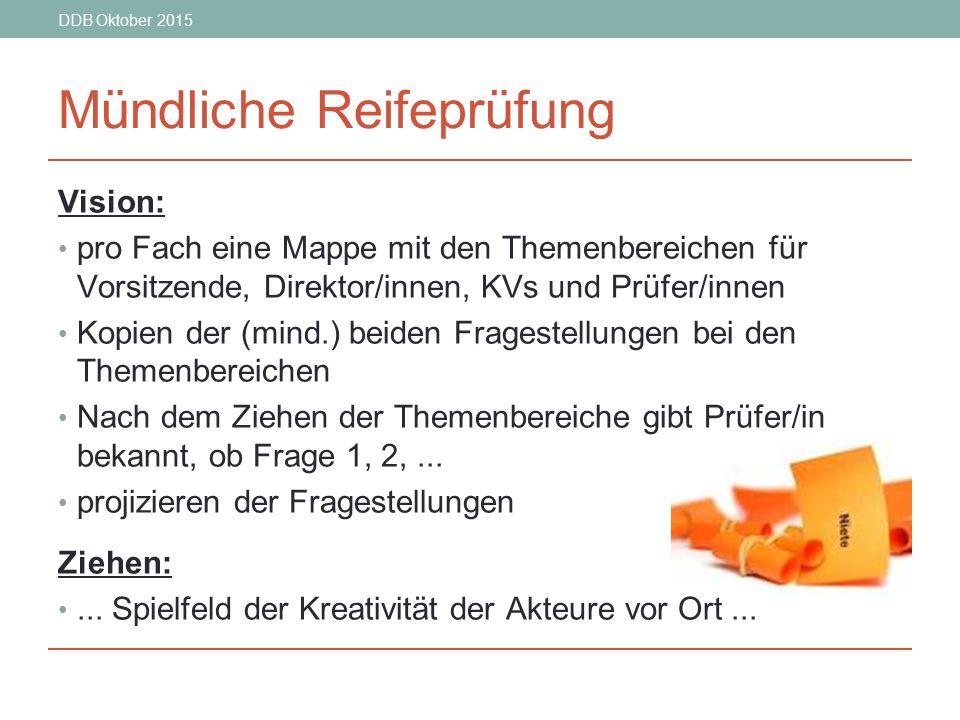 DDB Oktober 2015 Mündliche Reifeprüfung Vision: pro Fach eine Mappe mit den Themenbereichen für Vorsitzende, Direktor/innen, KVs und Prüfer/innen Kopi