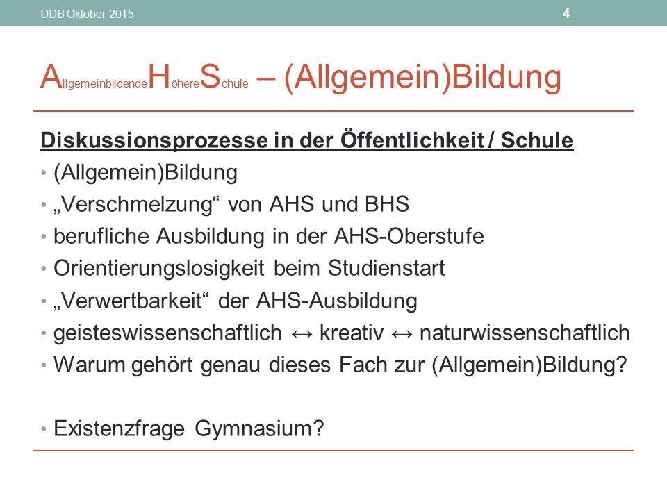 """DDB Oktober 2015 4 A llgemeinbildende H öhere S chule – (Allgemein)Bildung Diskussionsprozesse in der Öffentlichkeit / Schule (Allgemein)Bildung """"Vers"""