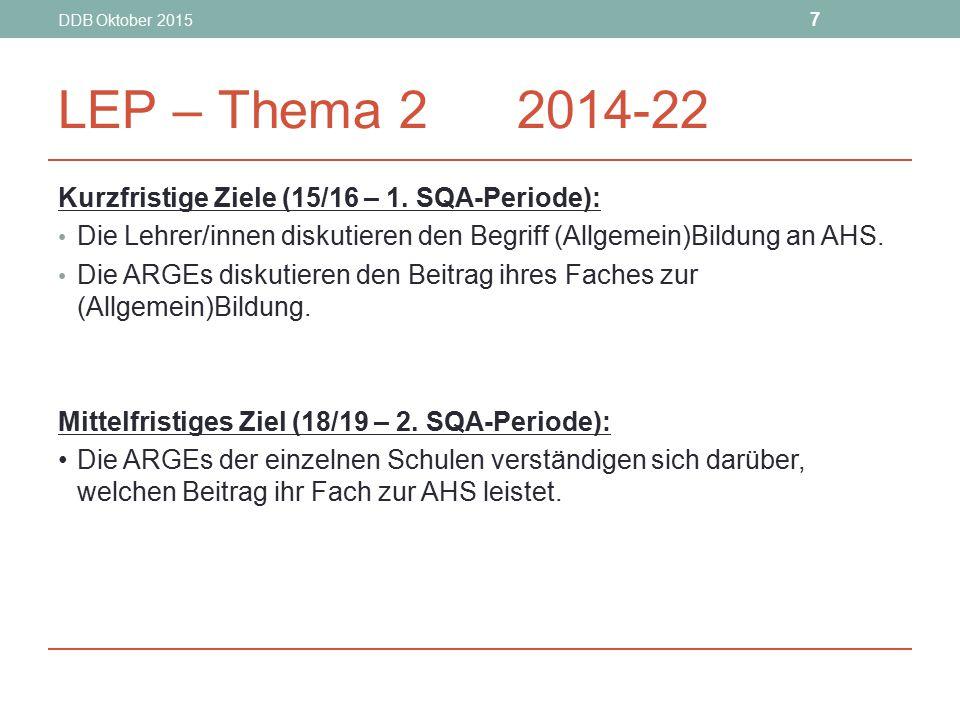 DDB Oktober 2015 7 LEP – Thema 2 2014-22 Kurzfristige Ziele (15/16 – 1. SQA-Periode): Die Lehrer/innen diskutieren den Begriff (Allgemein)Bildung an A