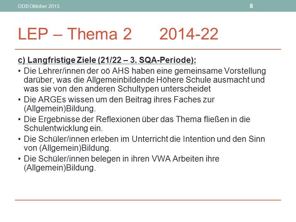 DDB Oktober 2015 8 LEP – Thema 2 2014-22 c) Langfristige Ziele (21/22 – 3. SQA-Periode): Die Lehrer/innen der oö AHS haben eine gemeinsame Vorstellung