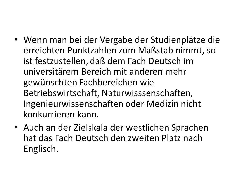Wenn man bei der Vergabe der Studienplätze die erreichten Punktzahlen zum Maßstab nimmt, so ist festzustellen, daß dem Fach Deutsch im universitärem B