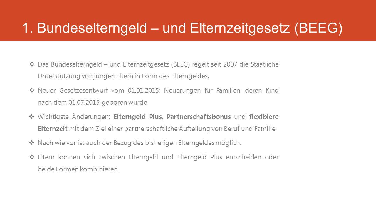 1. Bundeselterngeld – und Elternzeitgesetz (BEEG)  Das Bundeselterngeld – und Elternzeitgesetz (BEEG) regelt seit 2007 die Staatliche Unterstützung v