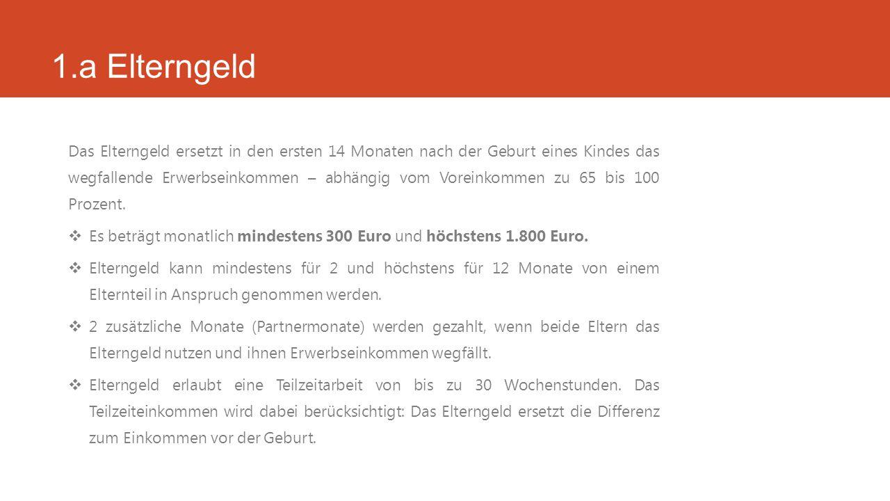 3.b Beispiele – Kombination von Elterngeld Plus und Partnerschaftsbonus  Der Elterngeld Plus-Anspruch der beiden berechnet sich nach dem vollen Elterngeldanspruch: Frau F.:Verdienst zwischen 1.000€ und 1.200€/ Monat: 67%  67% von 1.200€ = 750€ monatliches Elterngeld Plus: 750€ : 2 = 375€ Herr M.: Verdienst ab 1.200€/ Monat: 65% bis 67%  65% von 2.000€ = 1.250€ monatliches Elterngeld Plus: 1.250€ : 2 = 625€ Beispiel: Frau F.