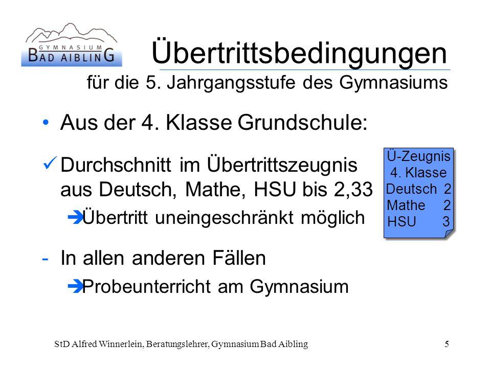 Übertrittsbedingungen für die 5.Jahrgangsstufe des Gymnasiums Aus der 4.