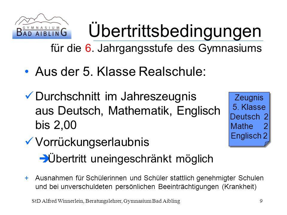 Übertrittsbedingungen für die 6.Jahrgangsstufe des Gymnasiums Aus der 5.