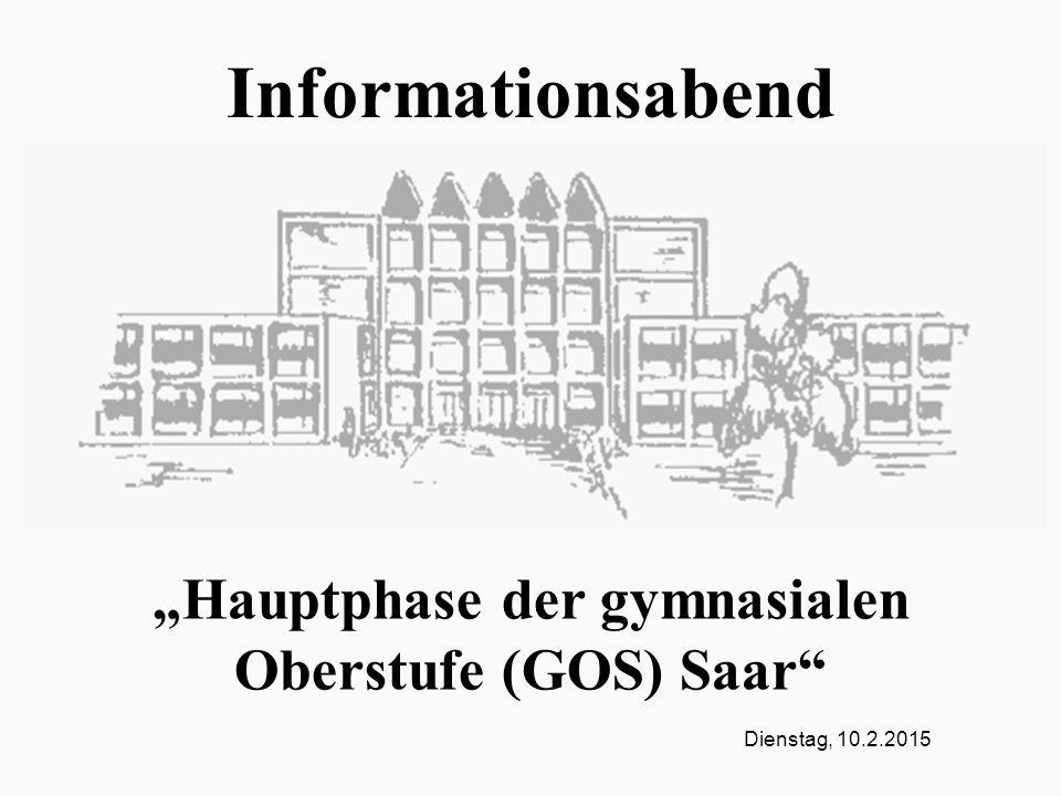 """Dienstag, 10.2.2015 Informationsabend """"Hauptphase der gymnasialen Oberstufe (GOS) Saar"""