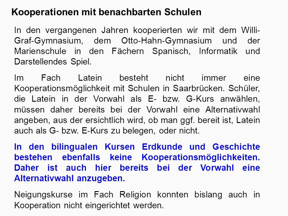 Kooperationen mit benachbarten Schulen In den vergangenen Jahren kooperierten wir mit dem Willi- Graf-Gymnasium, dem Otto-Hahn-Gymnasium und der Marienschule in den Fächern Spanisch, Informatik und Darstellendes Spiel.