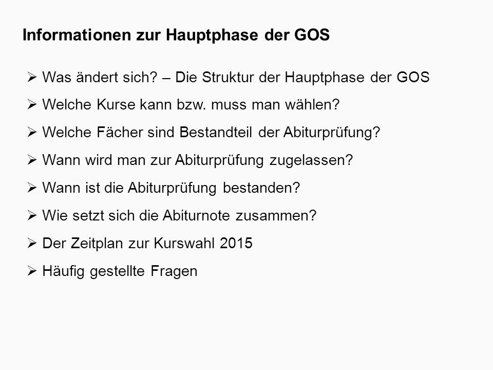 Informationen zur Hauptphase der GOS  Was ändert sich.