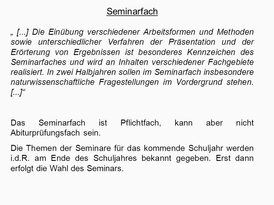 """Häufig gestellte Fragen """"Kann man im Seminarfach ins Abitur? Nein!"""