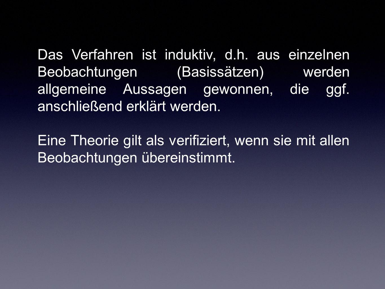 Kritik am Positivismus (Das Induktionsproblem) Popper kritisiert am Positivismus, dass auf induktivem Wege eine Theorie niemals als wahr erwiesen werden kann, weil dafür alle möglichen Beobachtungen verfügbar sein müssten.