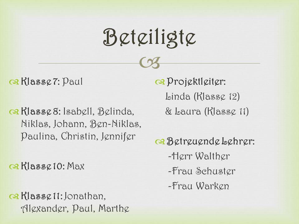  Beteiligte  Klasse 7: Paul  Klasse 8: Isabell, Belinda, Niklas, Johann, Ben-Niklas, Paulina, Christin, Jennifer  Klasse 10: Max  Klasse 11: Jona