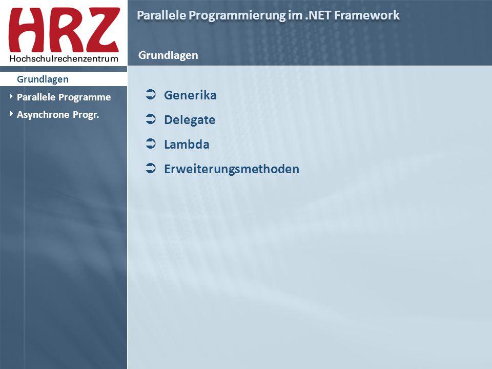 Parallele Programmierung im.NET Framework Grundlagen - Generika  Generische Klassen und Methoden  Bekannt aus anderen Programmiersprachen  Ermöglicht es Klassen und Methoden zu entwerfen in denen die Angabe eines oder mehrerer Typen bis zur Instanziierung verzögert wird  Grundlagen  Parallele Programme  Asynchrone Progr.
