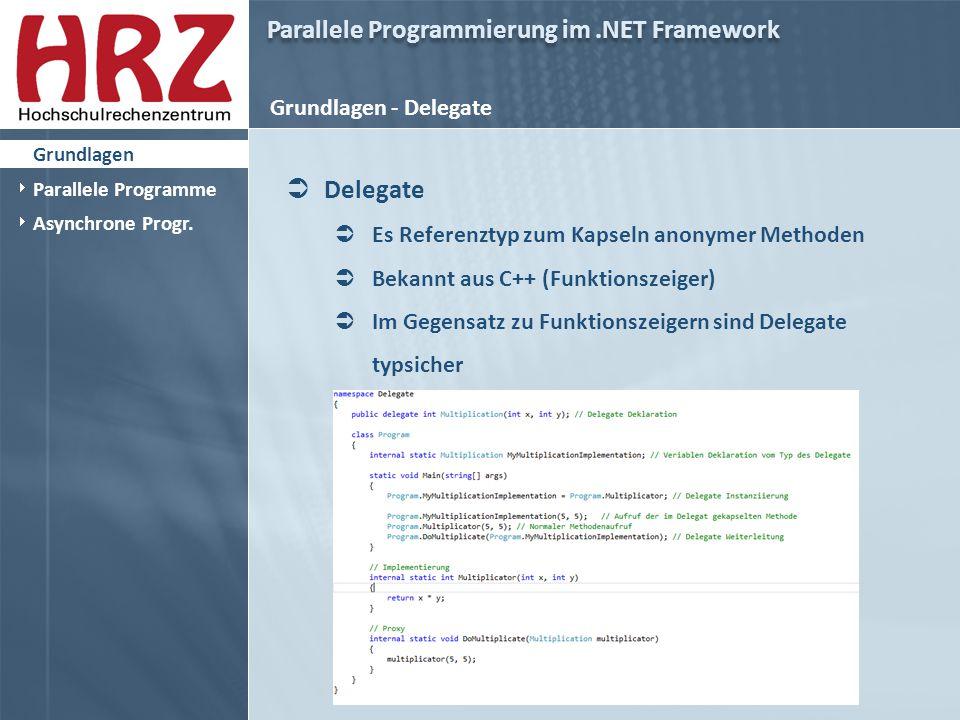 Parallele Programmierung im.NET Framework Grundlagen - Delegate  Delegate  Es Referenztyp zum Kapseln anonymer Methoden  Bekannt aus C++ (Funktionszeiger)  Im Gegensatz zu Funktionszeigern sind Delegate typsicher  Grundlagen  Parallele Programme  Asynchrone Progr.