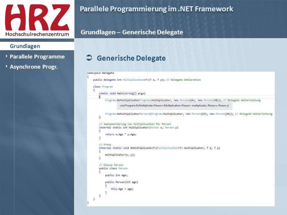 Parallele Programmierung im.NET Framework Grundlagen – Generische Delegate  Generische Delegate  Grundlagen  Parallele Programme  Asynchrone Progr.
