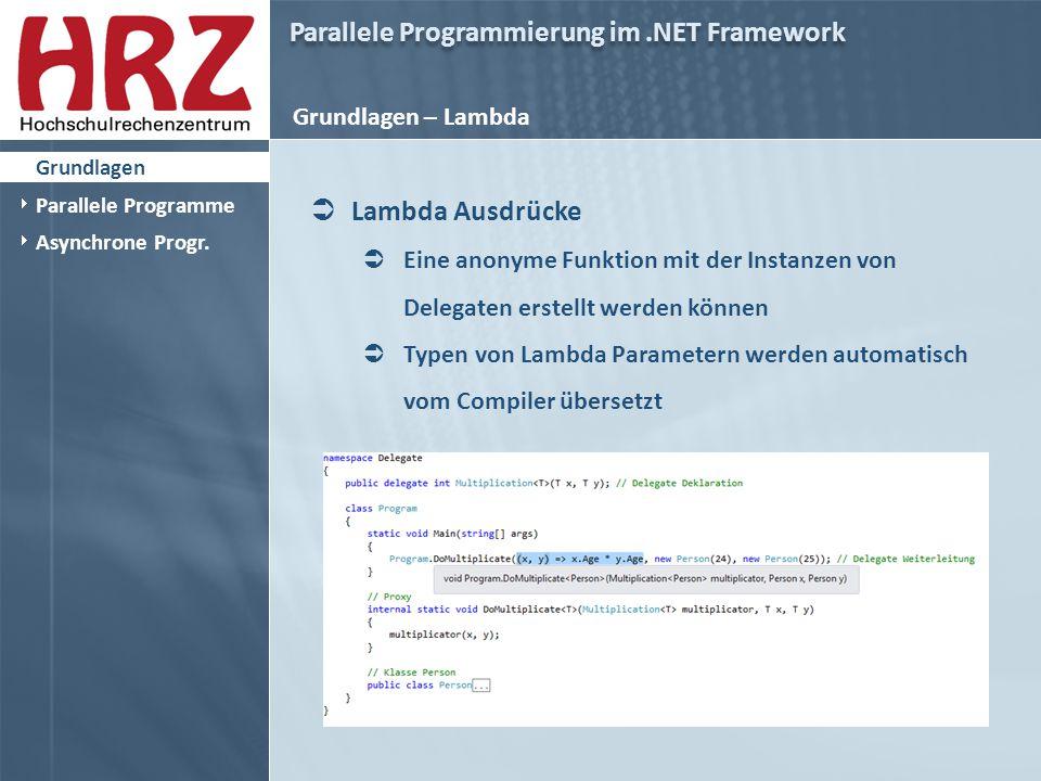Parallele Programmierung im.NET Framework Grundlagen – Lambda  Lambda Ausdrücke  Eine anonyme Funktion mit der Instanzen von Delegaten erstellt werden können  Typen von Lambda Parametern werden automatisch vom Compiler übersetzt  Grundlagen  Parallele Programme  Asynchrone Progr.
