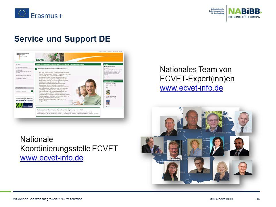 Mit kleinen Schritten zur großen PPT-Präsentation © NA beim BIBB Service und Support DE 16 Nationales Team von ECVET-Expert(inn)en www.ecvet-info.de N
