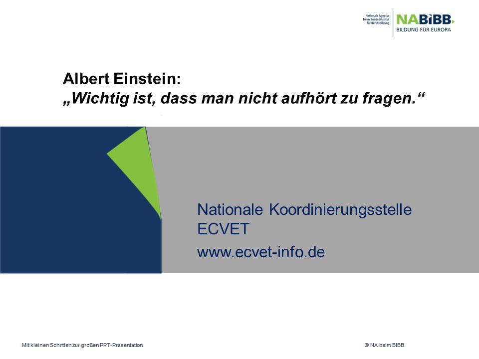 """Mit kleinen Schritten zur großen PPT-Präsentation © NA beim BIBB Nationale Koordinierungsstelle ECVET www.ecvet-info.de Albert Einstein: """"Wichtig ist,"""