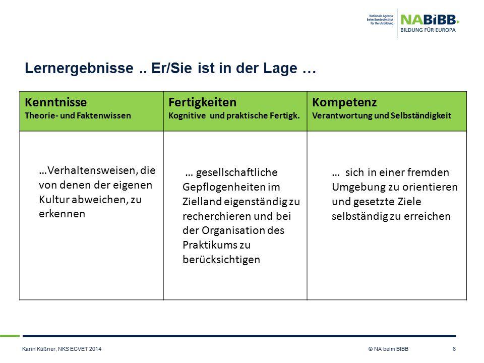 Karin Küßner, NKS ECVET 2014 © NA beim BIBB Lernergebnisse.. Er/Sie ist in der Lage … 6 Kenntnisse Theorie- und Faktenwissen Fertigkeiten Kognitive un