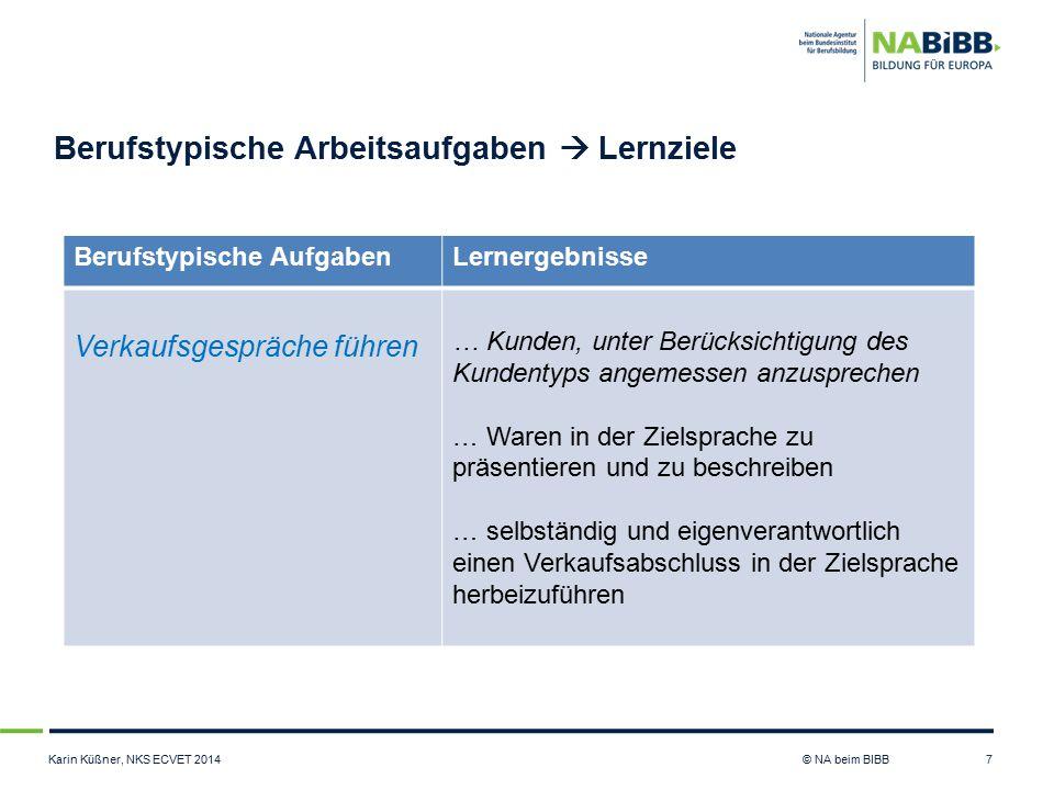 Karin Küßner, NKS ECVET 2014 © NA beim BIBB Berufstypische Arbeitsaufgaben  Lernziele 7 Berufstypische AufgabenLernergebnisse Verkaufsgespräche führe