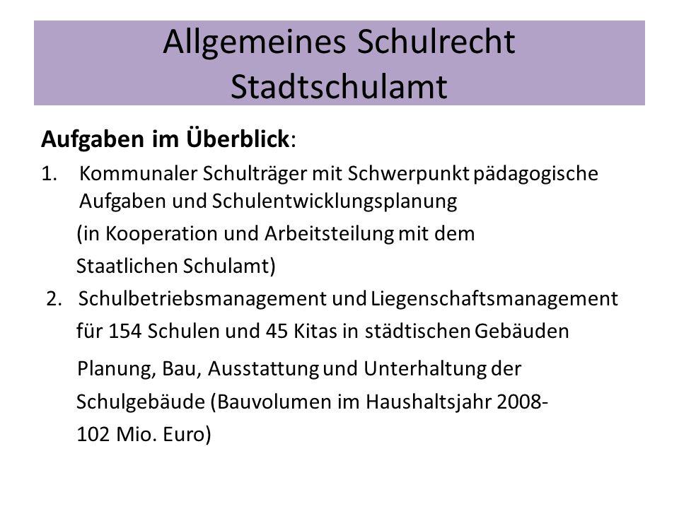 Allgemeines Schulrecht Stadtschulamt Aufgaben im Überblick: 1.Kommunaler Schulträger mit Schwerpunkt pädagogische Aufgaben und Schulentwicklungsplanun