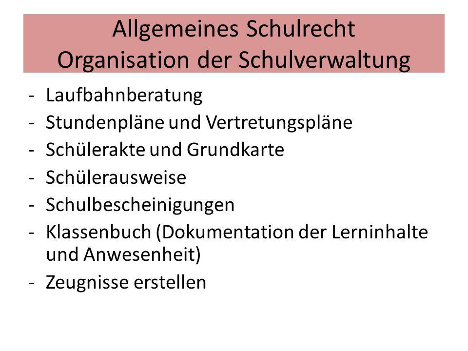 Allgemeines Schulrecht Organisation der Schulverwaltung -Laufbahnberatung -Stundenpläne und Vertretungspläne -Schülerakte und Grundkarte -Schülerauswe