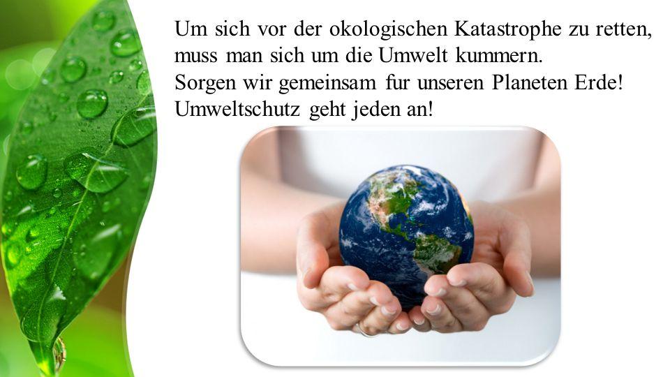 Um sich vor der okologischen Katastrophe zu retten, muss man sich um die Umwelt kummern.