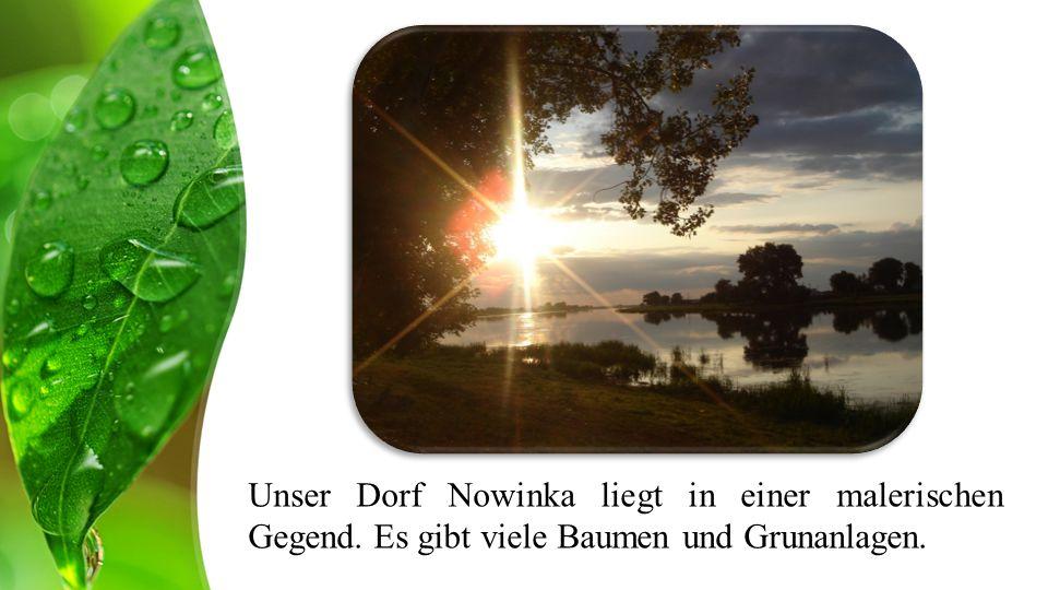 Unser Dorf Nowinka liegt in einer malerischen Gegend. Es gibt viele Baumen und Grunanlagen.