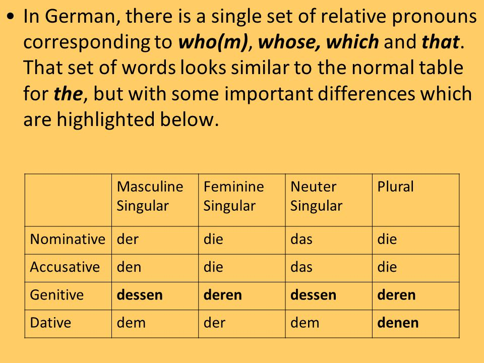 In German, there is a single set of relative pronouns corresponding to who(m), whose, which and that.