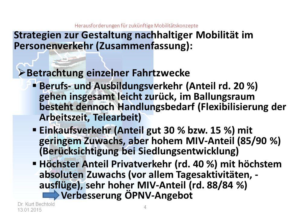 Herausforderungen für zukünftige Mobilitätskonzepte Strategien zur Gestaltung nachhaltiger Mobilität im Personenverkehr (Zusammenfassung):  Betrachtung einzelner Fahrtzwecke  Berufs- und Ausbildungsverkehr (Anteil rd.