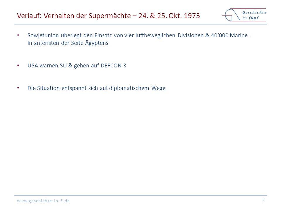 www.geschichte-in-5.de Verlauf: Verhalten der Supermächte – 24. & 25. Okt. 1973 Sowjetunion überlegt den Einsatz von vier luftbeweglichen Divisionen &