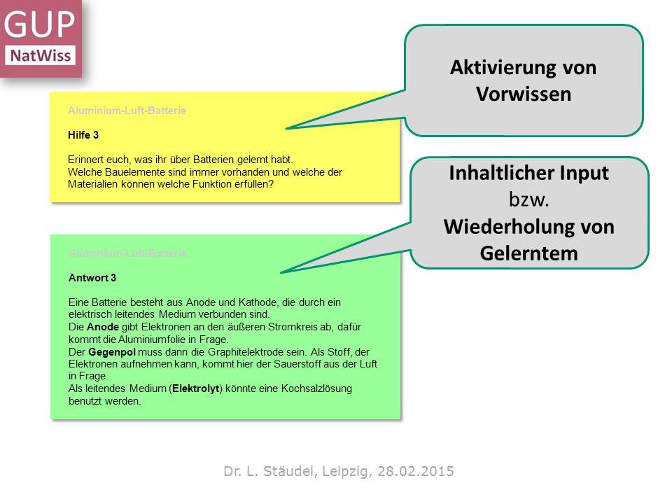Dr. L. Stäudel, Leipzig, 28.02.2015 Aktivierung von Vorwissen Inhaltlicher Input bzw. Wiederholung von Gelerntem