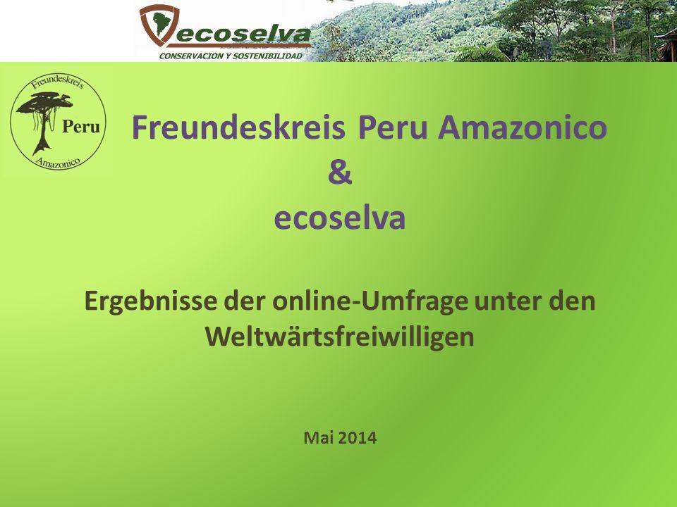 Freundeskreis Peru Amazonico & ecoselva Ergebnisse der online-Umfrage unter den Weltwärtsfreiwilligen Mai 2014