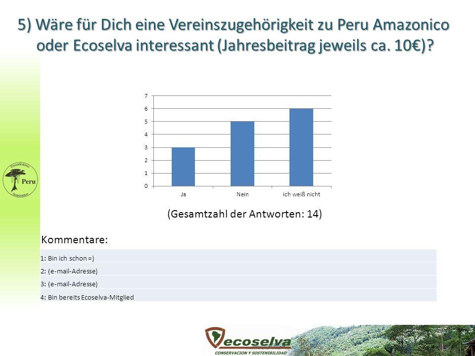 5) Wäre für Dich eine Vereinszugehörigkeit zu Peru Amazonico oder Ecoselva interessant (Jahresbeitrag jeweils ca. 10€)? (Gesamtzahl der Antworten: 14)