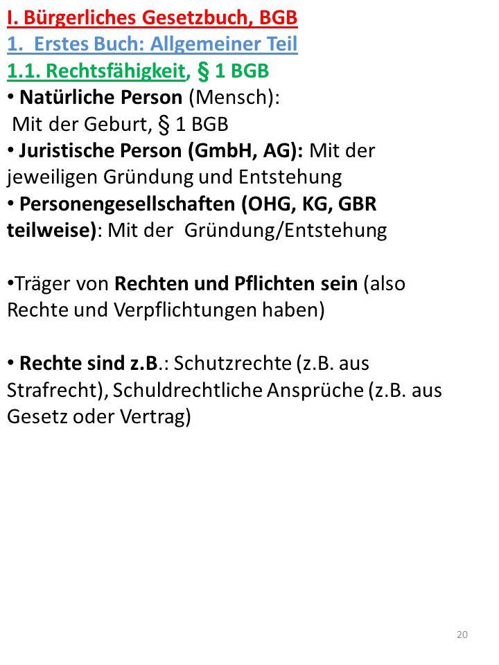 I. Bürgerliches Gesetzbuch, BGB 1. Erstes Buch: Allgemeiner Teil 1.1. Rechtsfähigkeit, § 1 BGB Natürliche Person (Mensch): Mit der Geburt, § 1 BGB Jur