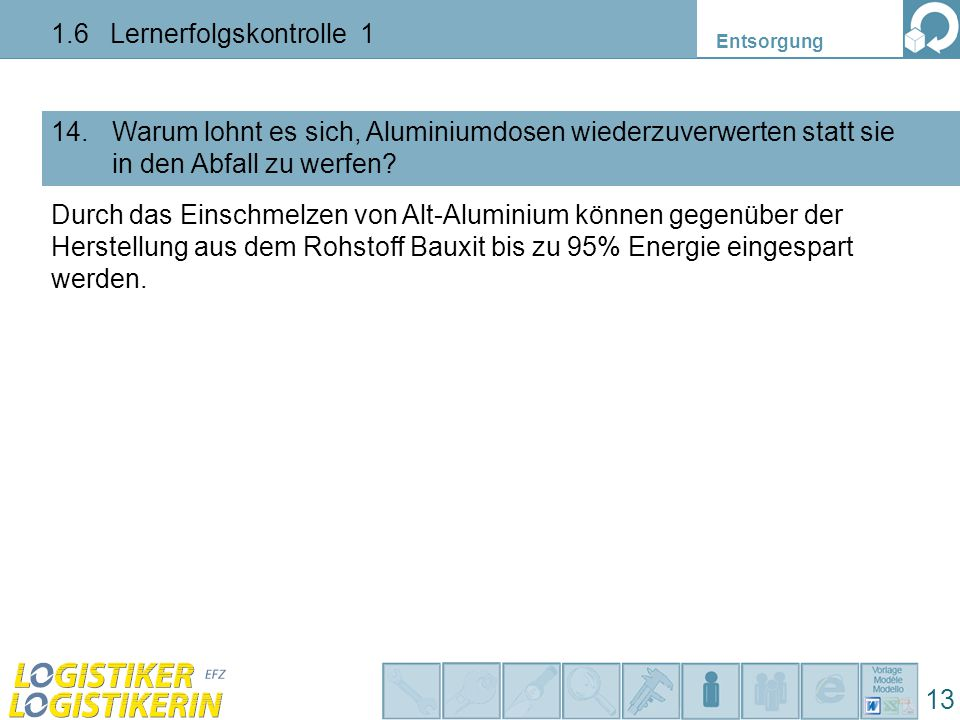 Entsorgung 13 1.6 Lernerfolgskontrolle 1 Warum lohnt es sich, Aluminiumdosen wiederzuverwerten statt sie in den Abfall zu werfen? 14. Durch das Einsch