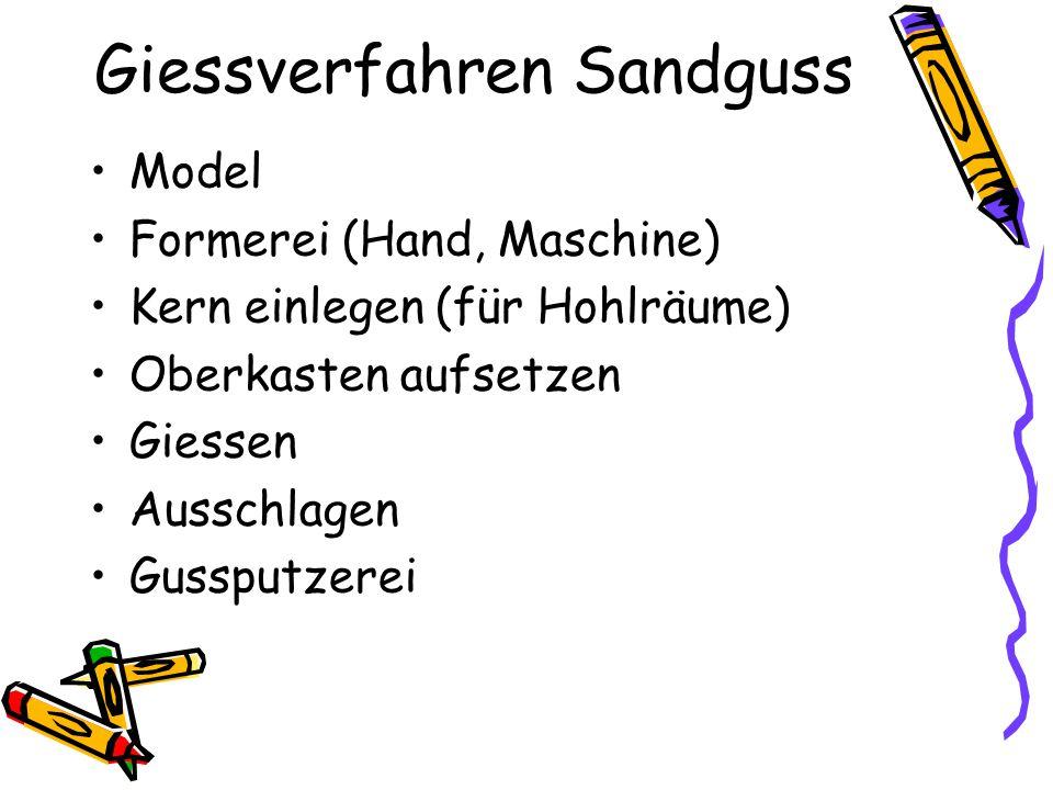 Giessverfahren Sandguss Model Formerei (Hand, Maschine) Kern einlegen (für Hohlräume) Oberkasten aufsetzen Giessen Ausschlagen Gussputzerei