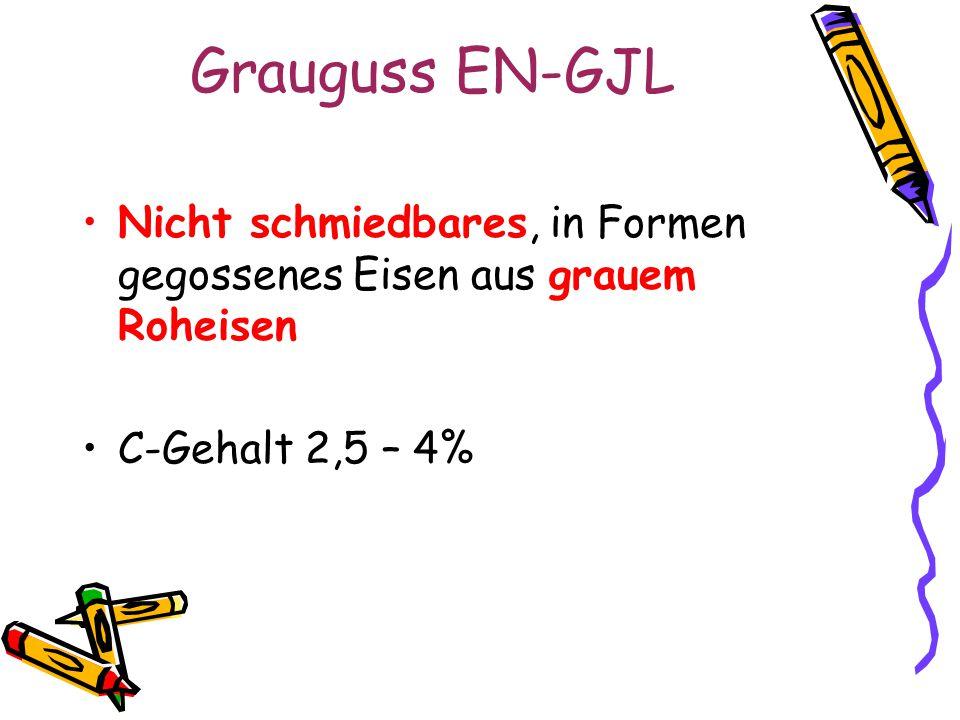 Grauguss EN-GJL Nicht schmiedbares, in Formen gegossenes Eisen aus grauem Roheisen C-Gehalt 2,5 – 4%
