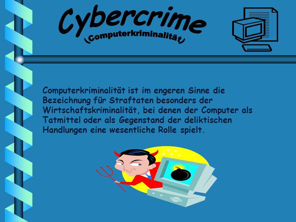 Computerkriminalität ist im engeren Sinne die Bezeichnung für Straftaten besonders der Wirtschaftskriminalität, bei denen der Computer als Tatmittel oder als Gegenstand der deliktischen Handlungen eine wesentliche Rolle spielt.