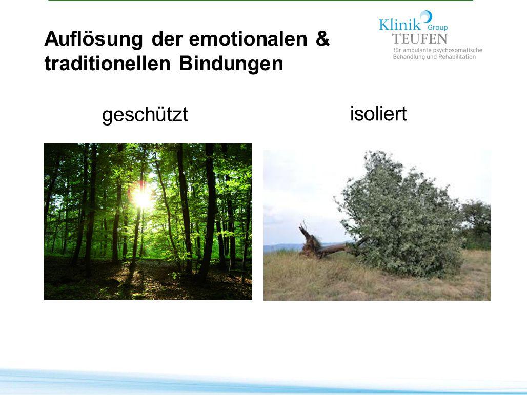 geschützt isoliert Auflösung der emotionalen & traditionellen Bindungen