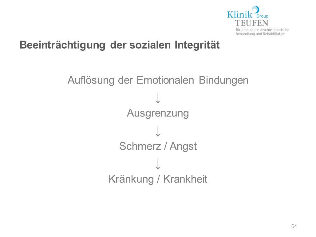 Auflösung der Emotionalen Bindungen ↓ Ausgrenzung ↓ Schmerz / Angst ↓ Kränkung / Krankheit 64 Beeinträchtigung der sozialen Integrität