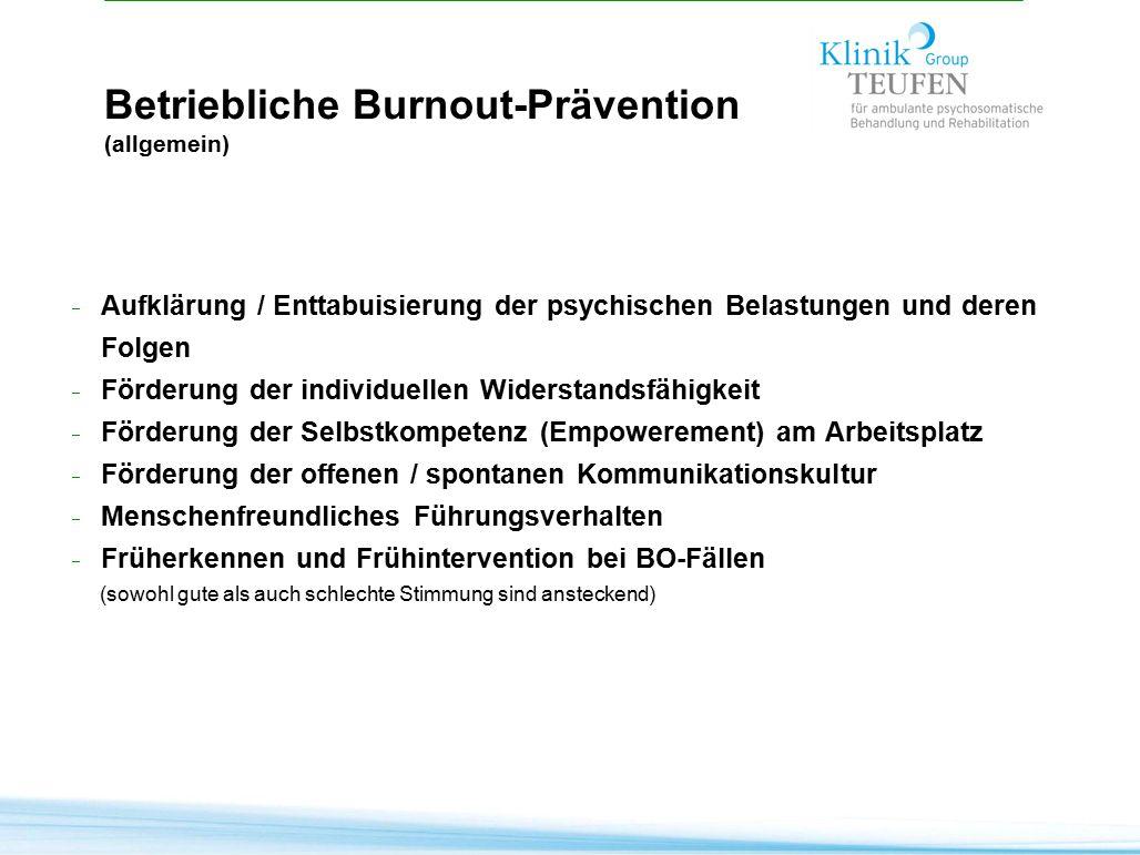 Betriebliche Burnout-Prävention (allgemein)  Aufklärung / Enttabuisierung der psychischen Belastungen und deren Folgen  Förderung der individuellen